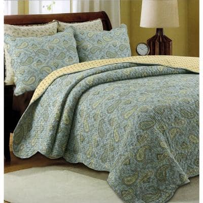 Country Stream Blues Paisley 3-Piece Blue Green Yellow Cotton King Quilt Bedding Set