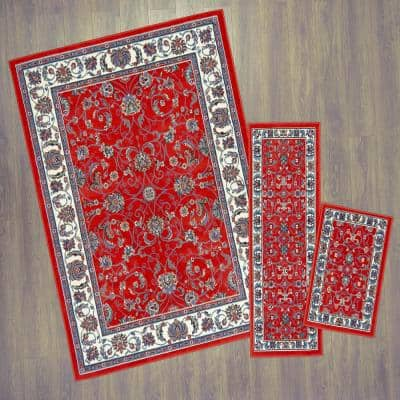 Ariana Red/Ivory 5 ft. x 7 ft. 3-Piece Rug Set