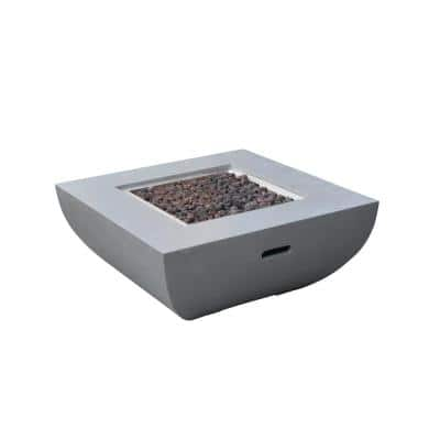 Westport 34 in. x 14 in. Square Concrete Propane Fire Pit Table in Light Gray