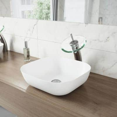 Waterfall Single-Handle Vessel Sink Faucet with Clear Glass Disk in Chrome