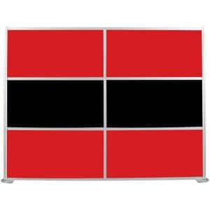 100-1/8 in. x 75-3/8 in. uDivide Room Divider Satin Clear Frame with Red and Black 6-Panels