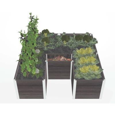 Urbana 6 in. x 6 in. Espresso Brown Composite Keyhole Garden
