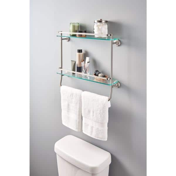 Delta 20 In W Double Glass Shelf With Towel Bar In Brushed Nickel Fss07 Bn The Home Depot
