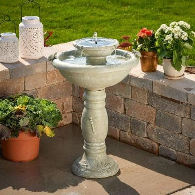 Country Gardens Weathered Stone Two-Tier Solar-on-Demand Fountain
