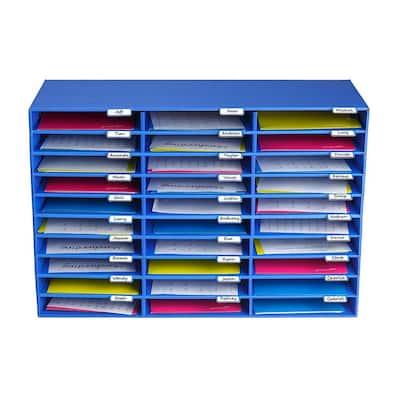 30-Slot Blue Classroom File Organizer