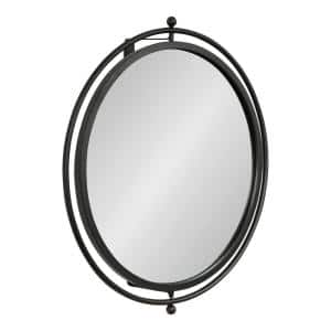 Baron 22.50 in. H x 21.00 in. W Modern Round Black Framed Accent Wall Mirror