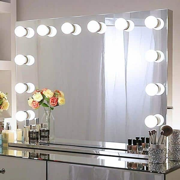 Light Stage Large Beauty Mirror, Hollywood Vanity Mirror Frameless