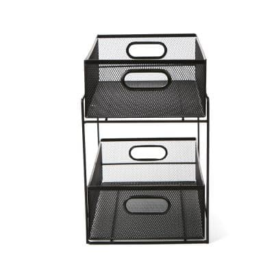2-Tier Metal Mesh Storage Baskets Organizer in Black