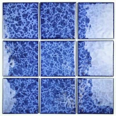 Monet Blue Pool Rated Square Mosaic 4 in. x 4 in. Glossy Porcelain Wall & Pool Tile (216 Sq. Ft./Pallet)