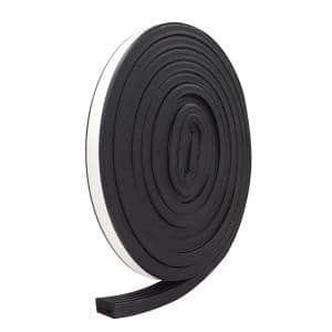 E/O 9/16 in. x 5/16 in. x 10 ft. Black EPDM Cellular Rubber Weather-Strip Tape Cushioned Ribbed