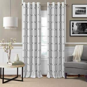 Gray Trellis Blackout Curtain - 52 in. W x 95 in. L