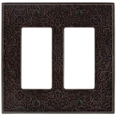 Momfort 2 Gang Rocker Metal Wall Plate - Aged Bronze