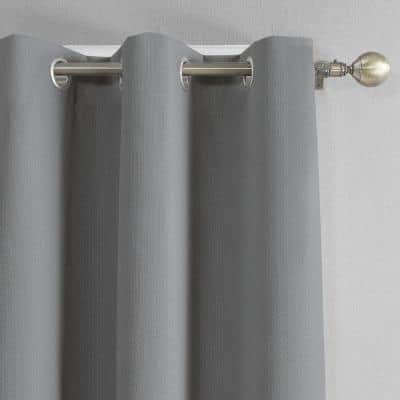 Grey Solid Polyester 42 in. W x 84 in. L Grommet Blackout Curtain Panel