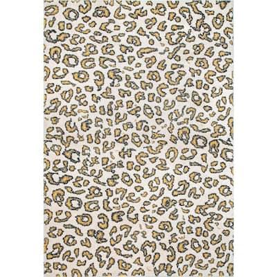 Leopard Print Beige 8 ft. x 10 ft. Area Rug
