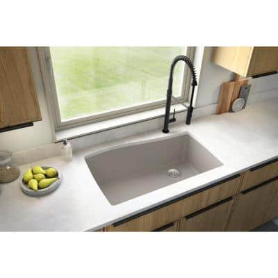 Undermount Quartz Composite 33 in. Single Bowl Kitchen Sink in Concrete
