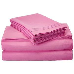 4-Piece Light Pink Solid Microfiber California King Sheet Set