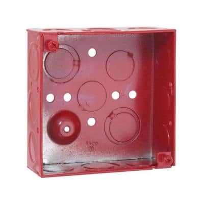 4 in. Square Welded Box, 1-1/2 Deep with 1/2 and 3/4 in. TKO's - Life Safety Red (50-Pack)