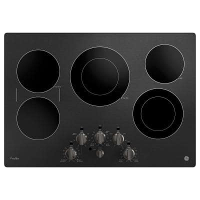 Profile 30 in. Radiant Electric Cooktop in Black Stainless Steel with 5-Elements Including Power Boil-Element