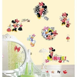 10 in. x 18 in. Mickey and Friends - Minnie Loves to Shop 21-Piece Peel and Stick Wall Decals