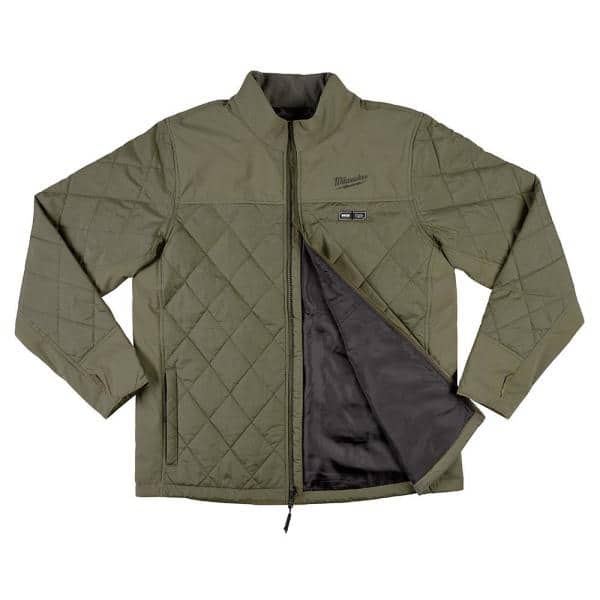 Milwaukee Men S 2x Large M12 12 Volt Lithium Ion Cordless Olive Green Heated Quilted Jacket Jacket Only 203og 202x The Home Depot