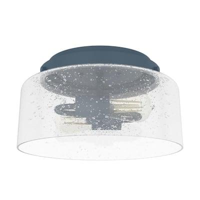 Hartland 11.5 in. 2-Light Indigo Blue Flush Mount