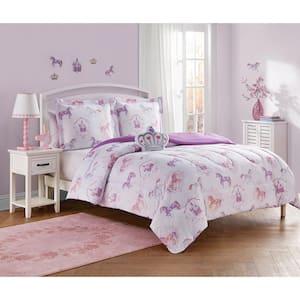 Legends And Fairy Tales Purple 3-Piece Microfiber Comforter Bedding Set - Twin
