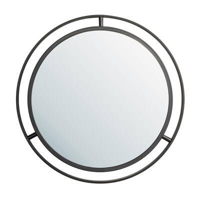 24.00 in. D Deluxe Black Metal Round Mirror