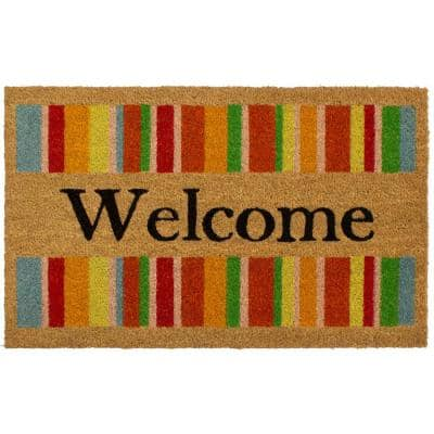 All Weather Welcome Stripes 18 in. x 28 in. Indoor/Outdoor Printed Coir Mat