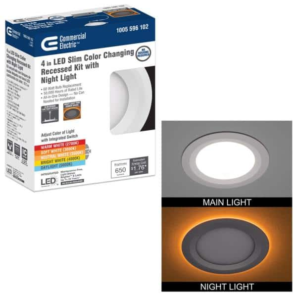 Commercial Electric Ultra Slim 4 In Canless Selectable Cct Integrated Led Recessed Light Trim With Night Light Feature 650 Lumens 53827101 The Home Depot