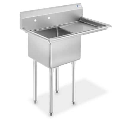 39 in. Freestanding Stainless Steel 1-Compartment Commercial Kitchen Sink with Right Drainboard