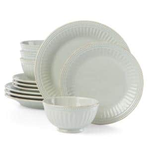 French Perle Groove 12-Piece Traditional Light Blue Stoneware Dinnerware Set (Service for 4)