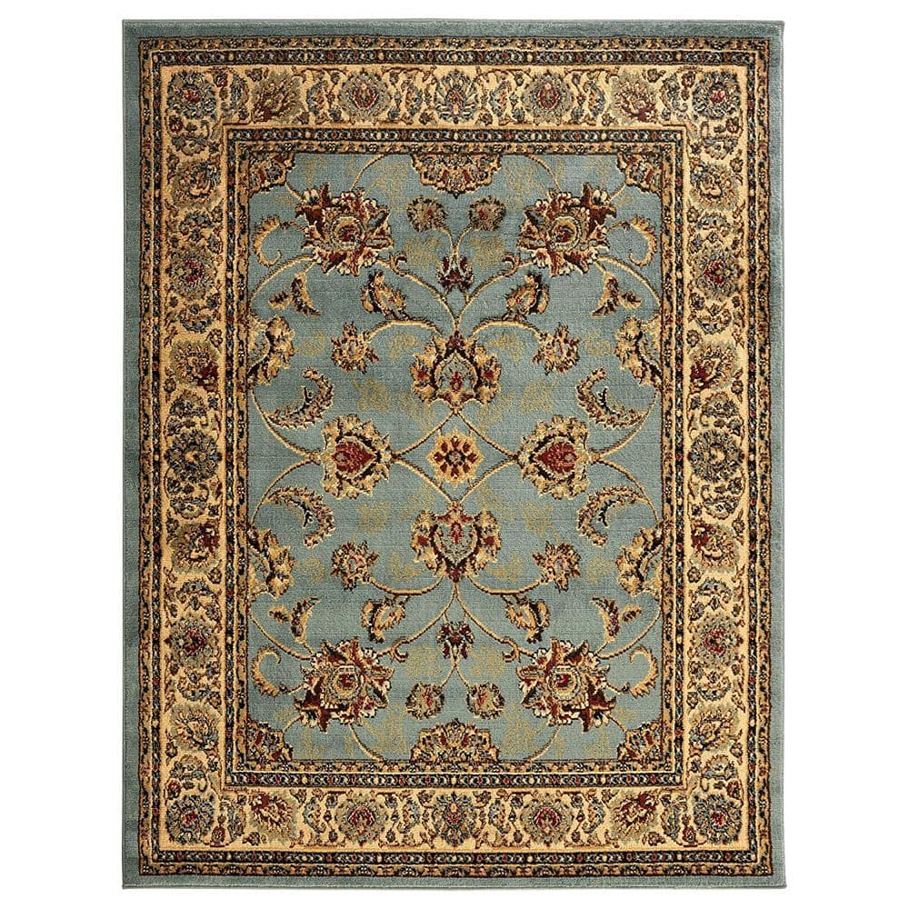 Sweet Home Stores King Collection Mahal Oriental Seafoam 8 Ft X 10 Ft Indoor Area Rug King1096 8x10 The Home Depot