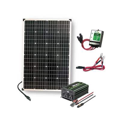 110-Watt Polycrystalline Solar Panel with 300-Watt Power Inverter and 11 Amp Charge Controller