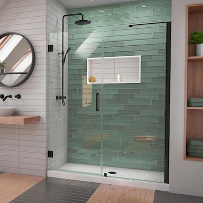 Unidoor-LS 58 in. - 59 in. W x 72 in. H Frameless Hinged Shower Door with L-Bar in Satin Black