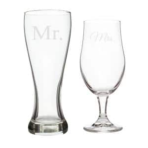 ''Mr. & Mrs.'' Glass Pilsner Set