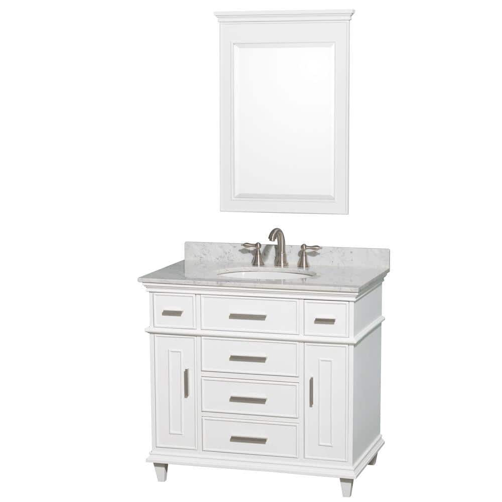 Wyndham Collection Berkeley 36 In Vanity In White With Marble Vanity Top In Carrara White Oval Sink And 24 In Mirror Wcv171736swhcmunrm24 The Home Depot