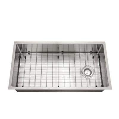 Brushed Stainless Steel 36 in. 18-Gauge Tight Radius Single Bowl Undermount Kitchen Sink with Grid and Strainer