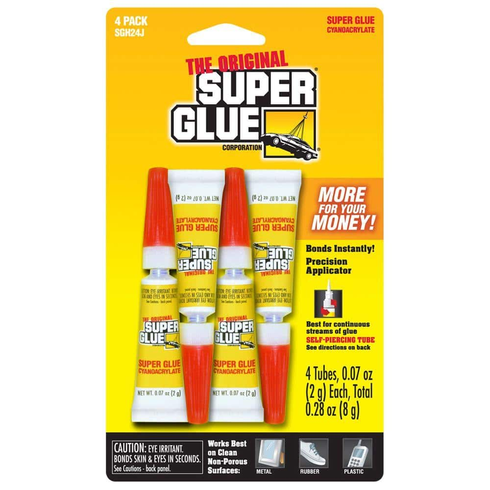 Super Glue 0.07 oz. Super Glue, (4) 0.07 oz. Tubes per card, Case pack of 12 cards