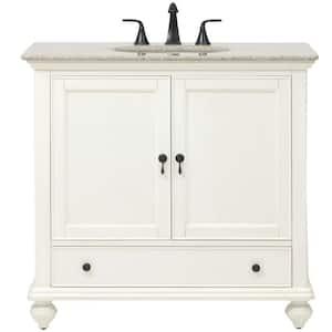 Newport 37 in. W x 21-1/2 in. D Bath Vanity in Ivory with Granite Vanity Top in Champagne