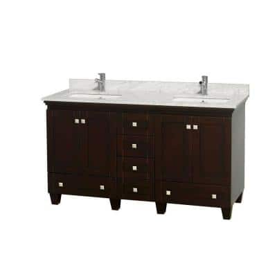 Acclaim 60 in. Double Vanity in Espresso with Marble Vanity Top in Carrara White and Square Sinks
