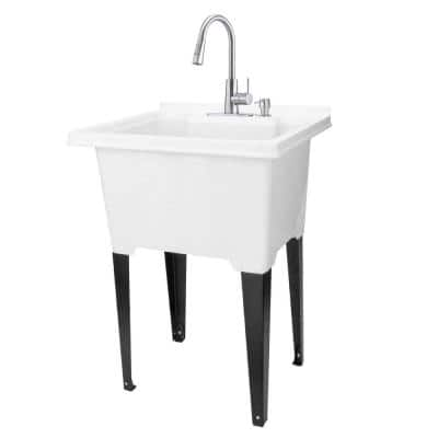 25 in. x 21.5 in. ABS Plastic White Freestanding Utility Sink in White - Stainless Hi-Arc Faucet, Soap Dispenser