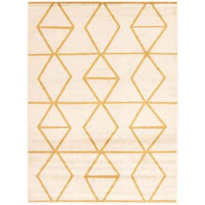 Ana Ivory-Gold 7 ft. 1 in. x 10 ft. 2 in. Geometric Area Rug