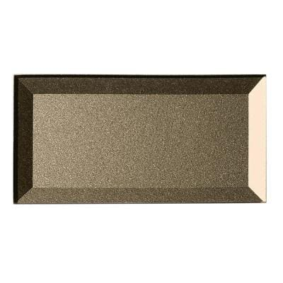 Forever Bronze Reverse Beveled Subway 3 in. x 6 in. Glossy Glass Wall Tile (1 sq. ft.)
