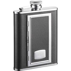 SP Black Liquor Flask with Built-In Cigarette Case