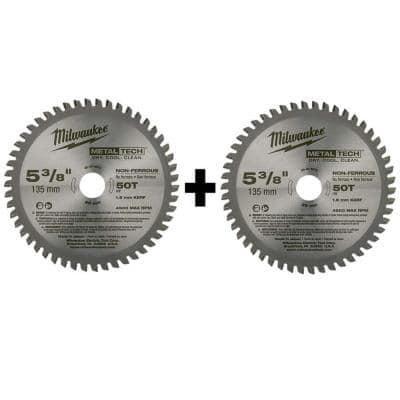 5-3/8 in. x 30 Teeth Ferrous and 5-3/8 in. x 50 Teeth Non-Ferrous Metal Cutting Circular Saw Blade Set (2-Pack)