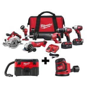 M18 18-Volt Lithium-Ion Cordless Combo Tool Kit (6-Tool) w/ Wet/Dry Vacuum and Random Orbit Sander