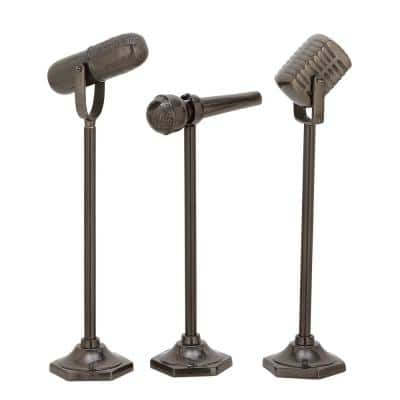 Modern 17 in. x 20 in. x 21 in. Metal Microphone Sculptures (Set of 3)
