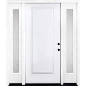 64 in. x 80 in. Classic 1-Panel LHIS Primed White Steel Prehung Front Door with Double 12 in. Rain Glass Sidelites