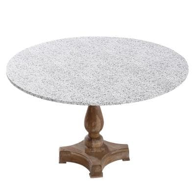 "42"" Cotton Fabric Fitted Table Cover, Grey Granite"