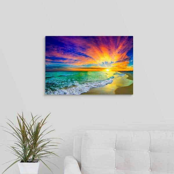 Greatbigcanvas 24 In X 16 In Colorful Ocean Sunset Orange And Red Beach Sunset By Eszra Tanner Canvas Wall Art 2528556 24 24x16 The Home Depot
